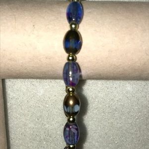 Jewelry - New Blue Artisan Glass Bead Stretch Bracelet